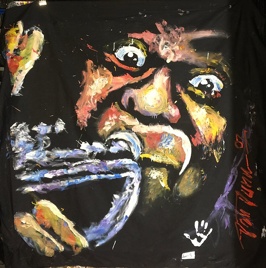 "72""x72"" Louis Armstrong Acrylic on Theatrical Muslin"