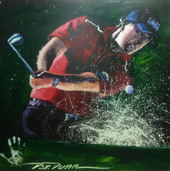"48""x48"" Phil Mickelson Acrylic on Canvas"