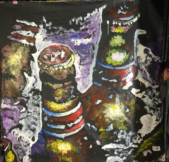 "72""x72"" Bottles of Beer Acrylic on Canvas"
