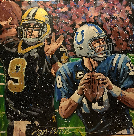 """48""""x48"""" Brees/Manning Acrylic on Canvas"""