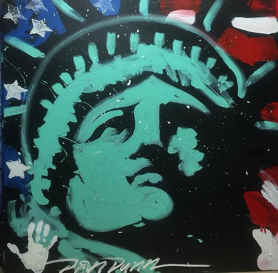 """48""""x48"""" Lady Liberty Acrylic on Canvas"""