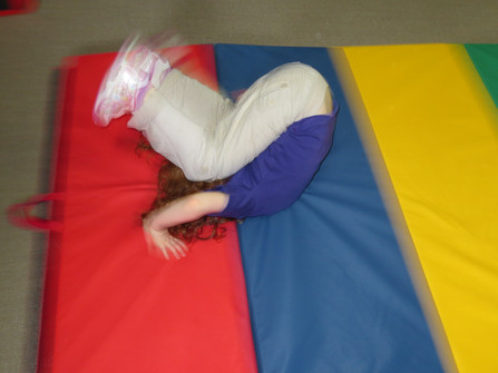 Practicing somersaults!