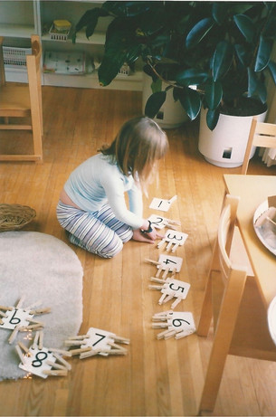 Matching activity using hands-on manipulatives.