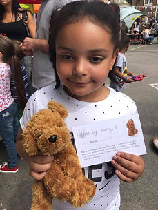 Happy Girl with New Soft Toy Loved Before & Story Card