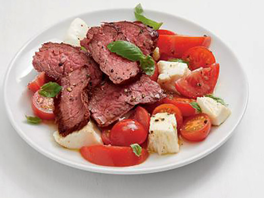 Grilled Flank Steak With Mozzarella and Basil Recipe!