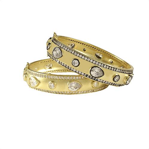 Single CZ Hinged Bangle Bracelet