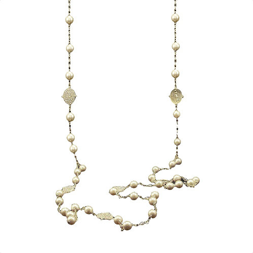 """60"""" Double-Sided Pearl & Pendant Necklace"""