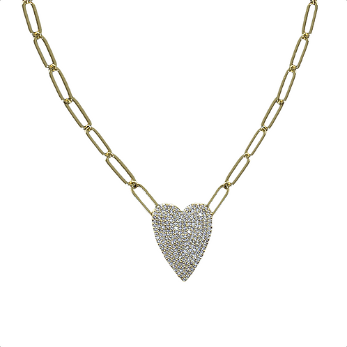 "16"" Faux Pave Heart on Gold Link Necklace"