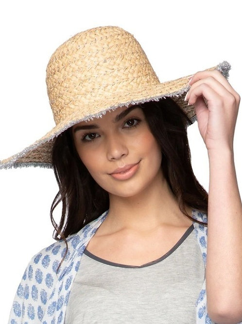 Metallic Silver Fringe on Natural Straw Janine Hat