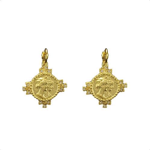Dual Headed Coin Pierced Earrings