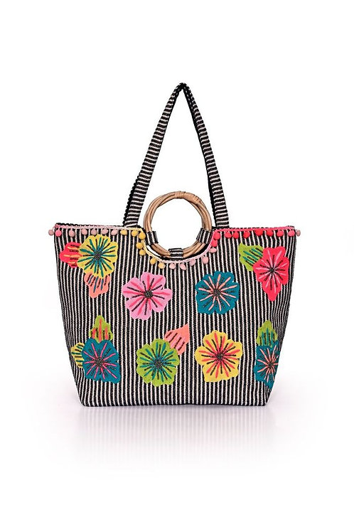 Fanciful Floral Striped Tote