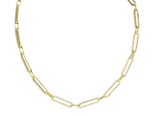 "16"" Gold Pave Paper Clip Chain Necklace"
