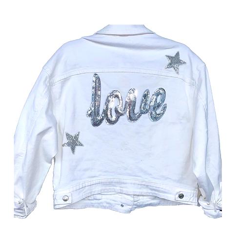 White Denim Star Love Jacket