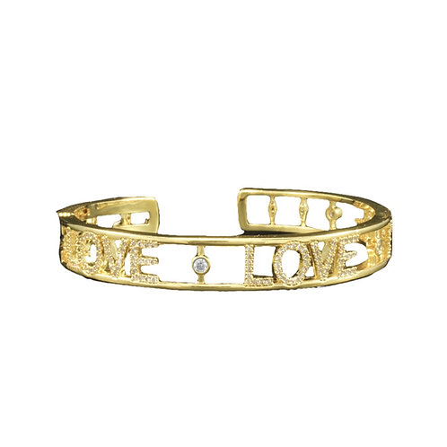 Gold CZ LOVE Hinged Bracelet