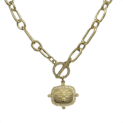 "16"" Toggle Gold with Bee Pendant Necklace"