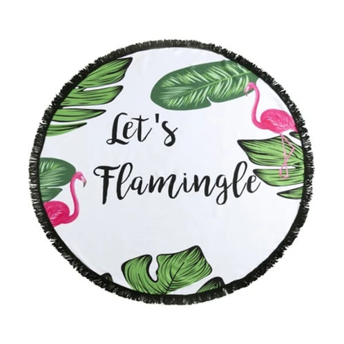 Let's Flamingle Round Beach Towel w/ Carry Bag