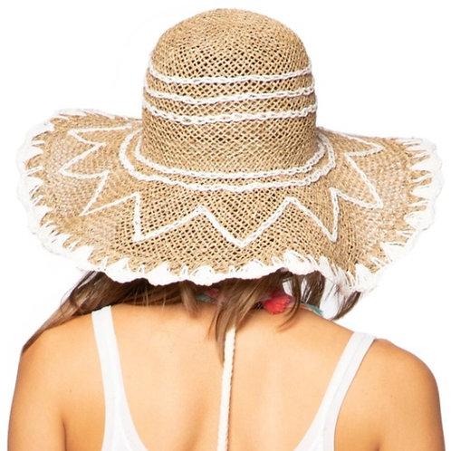 White on Dark Straw Estell Hat