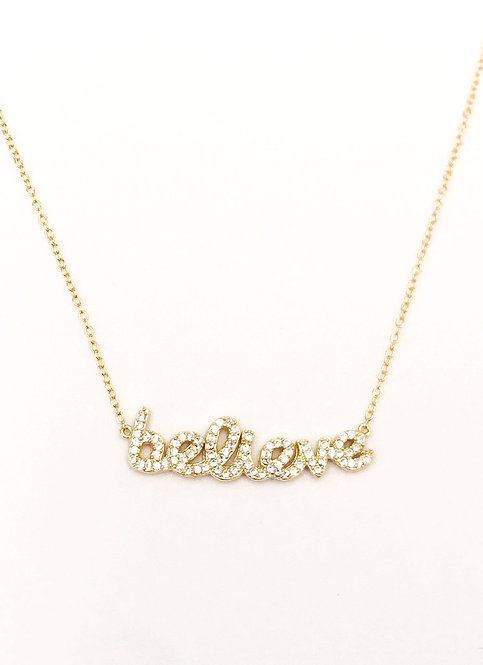 'BELIEVE' Pavé Necklace