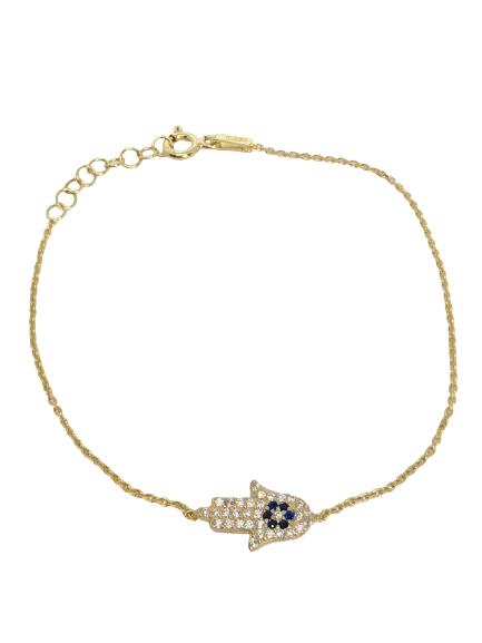 'FATIME' Gold Evil Eye Hand Bracelet