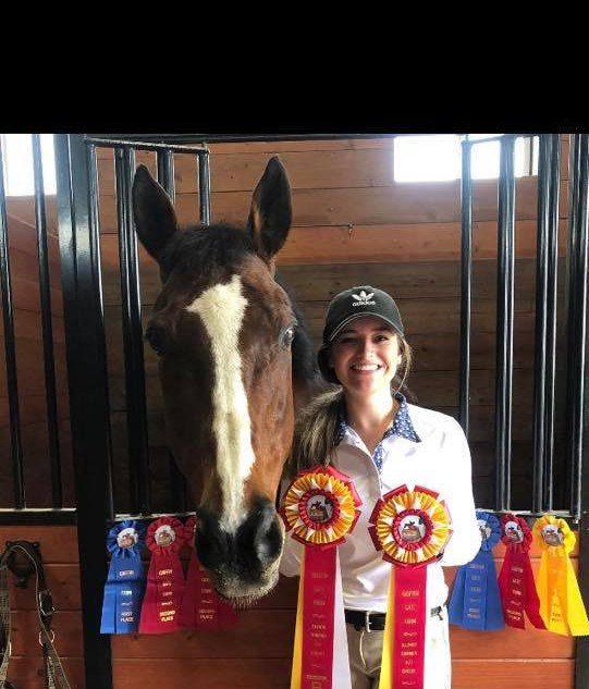 Brooke and All Maxed Out with great ribbons at the Grififn Gate Schooling Show