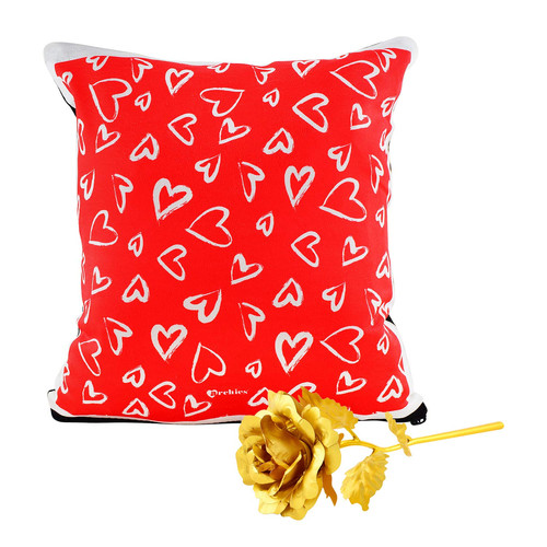2db0afe071 Archies 1st Valentine's Day Fabric Cushion and Golden Rose