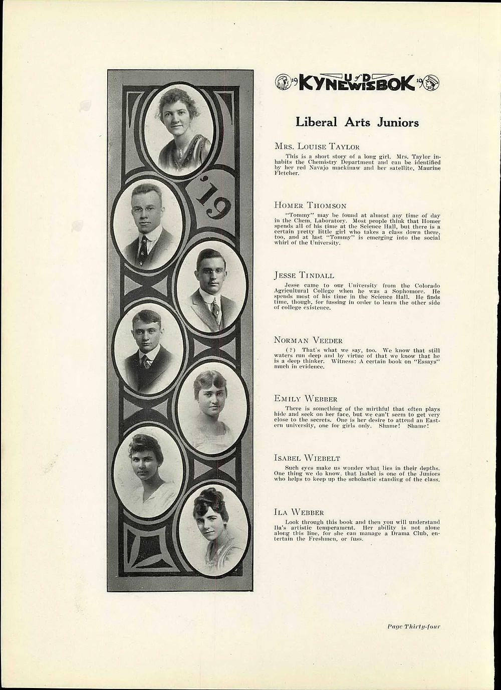 Page from the 1919 University of Denver yearbook featuring Jesse Tindall