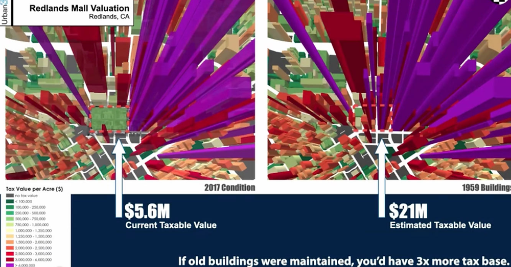 Map of taxable value per acre of downtown Redlands if buildings hadn't been destroyed, from the Saving Places Conference