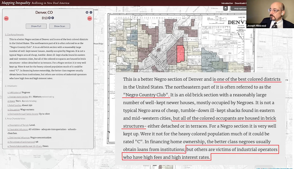 Redlining map of Denver, CO from the HOLC used in a presentation at the Saving Places Conference