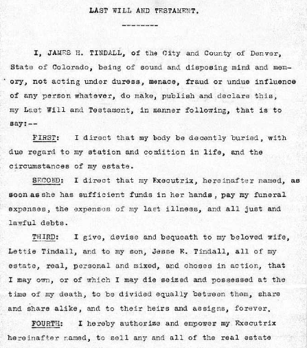 The last will and testament of James Henry Tindall.