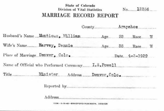 Marriage license for William Monticue and Dannie Harvey