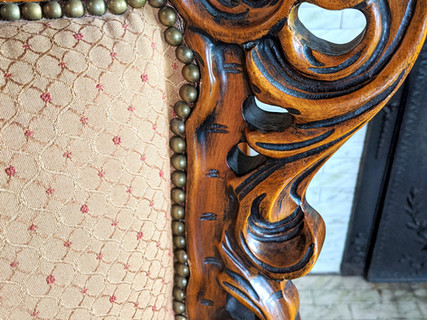 Antique Studed and Carved Foyer Chair from Estate Sale in Cherry Creek
