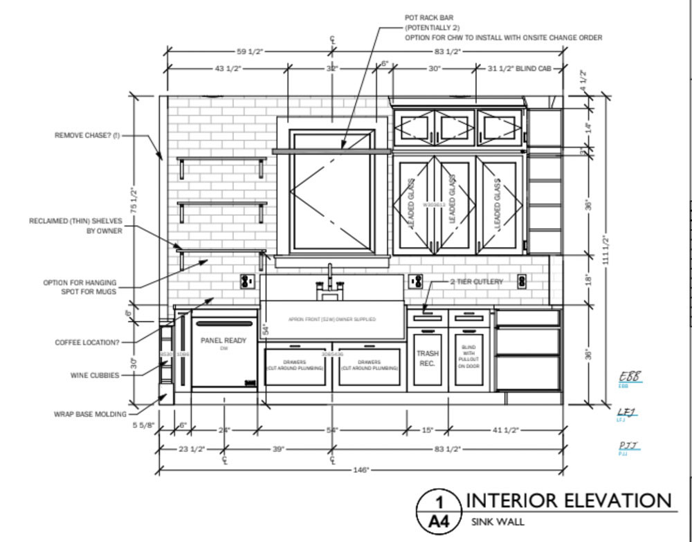 An elevation drawing of a kitchen remodel done by an architectural designer.