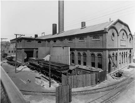 Old photo of Denver Tramway Co.'s building in the Central Platte Valley