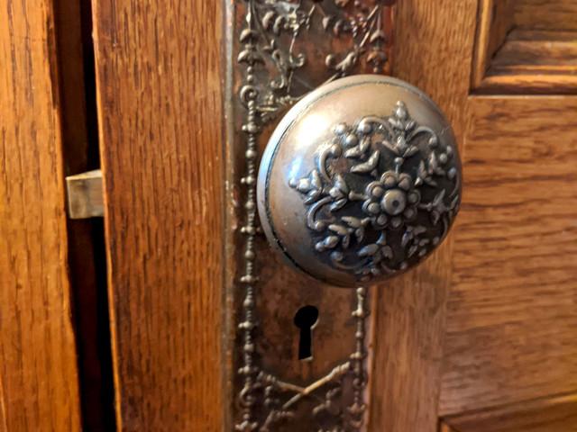 Ornate Brass Lockset on Quarter Sawn Oak Five Panel Door in 1898 Denver Square