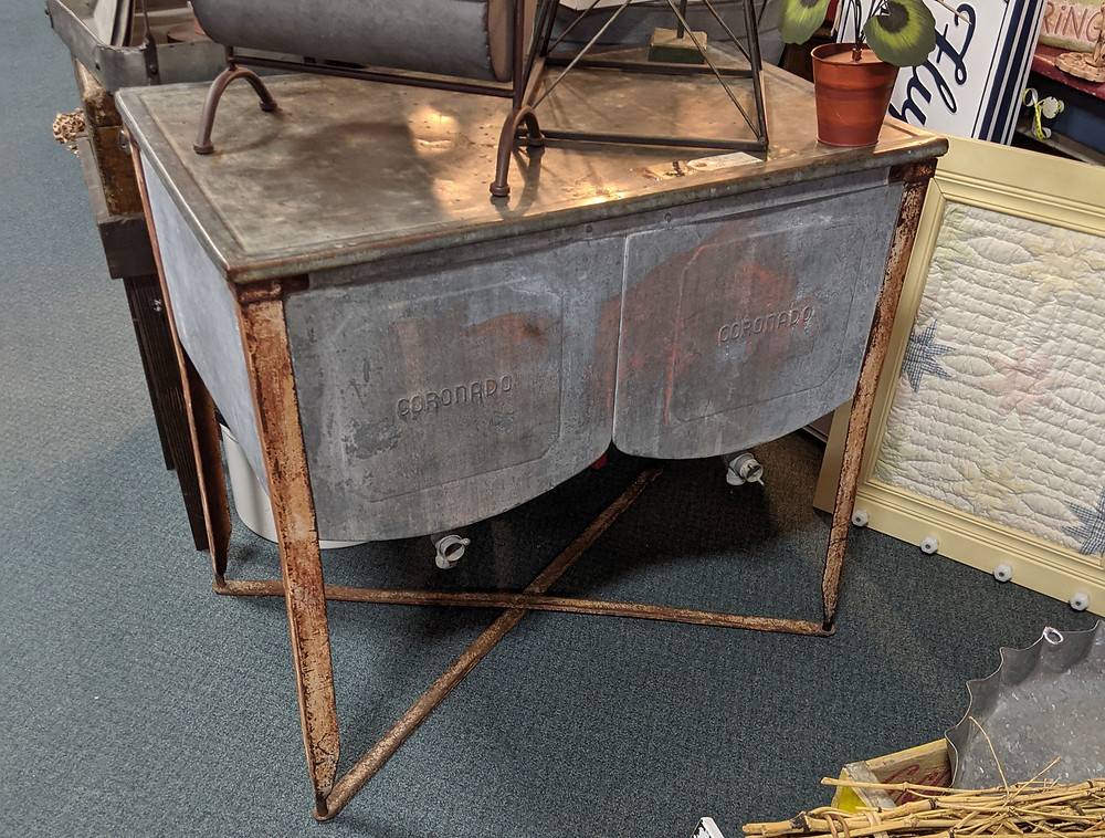 An antique washstand can be used as a kitchen island when you decorate with antiques