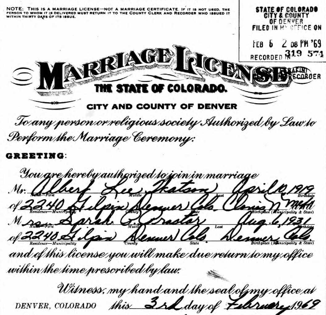 Colorado marriage license for Sarah Proctor and Albert Watson