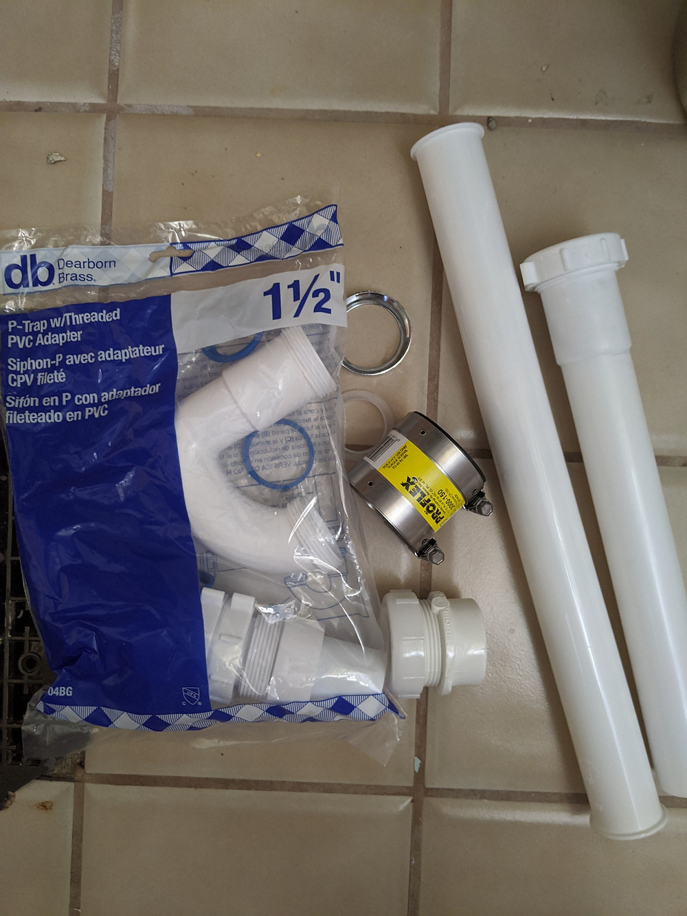 "1.5"" PVC Parts and P-Trap for Utility Sink Drain"