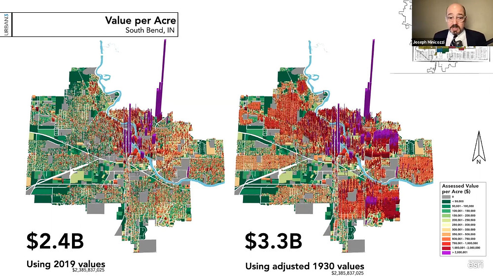 Map of South Bend, IN comparing present tax value to potential value without redlining, from Saving Places Conference