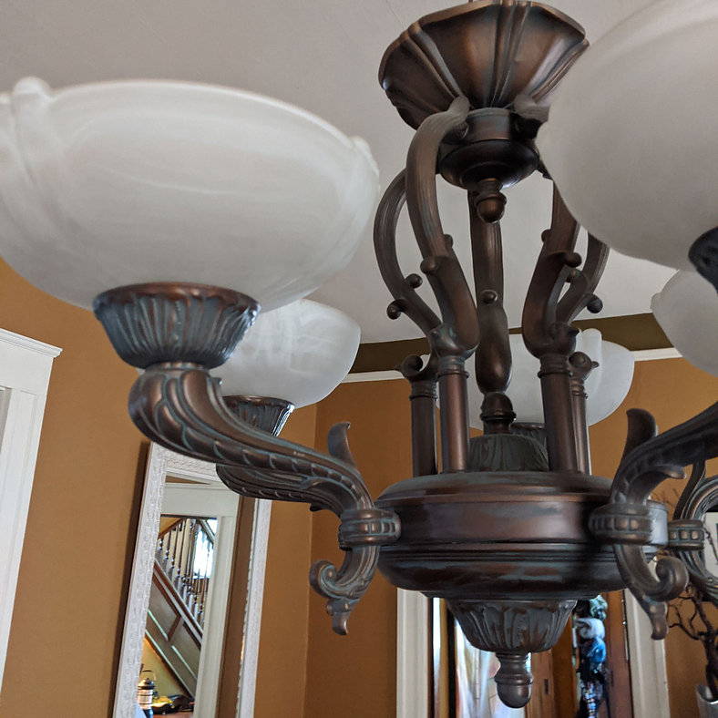 Antique-Bronze-Art-Nouveau-Light-Fixture