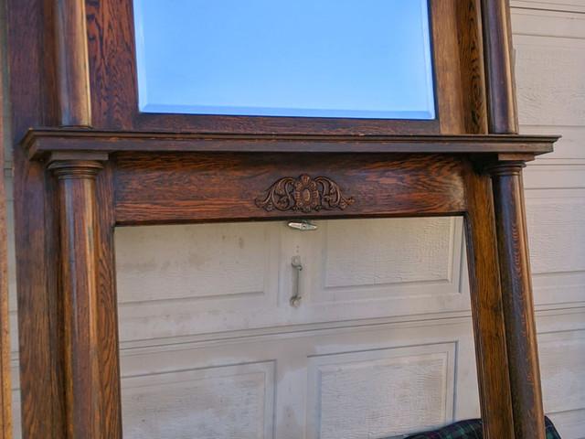 Early 1900s Moline Furniture Works Oak Fireplace Mantel