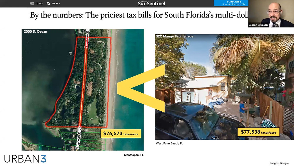 Photos of two properties in FL paying similar amount in taxes even though one is much smaller than the other, from Saving Places Conference