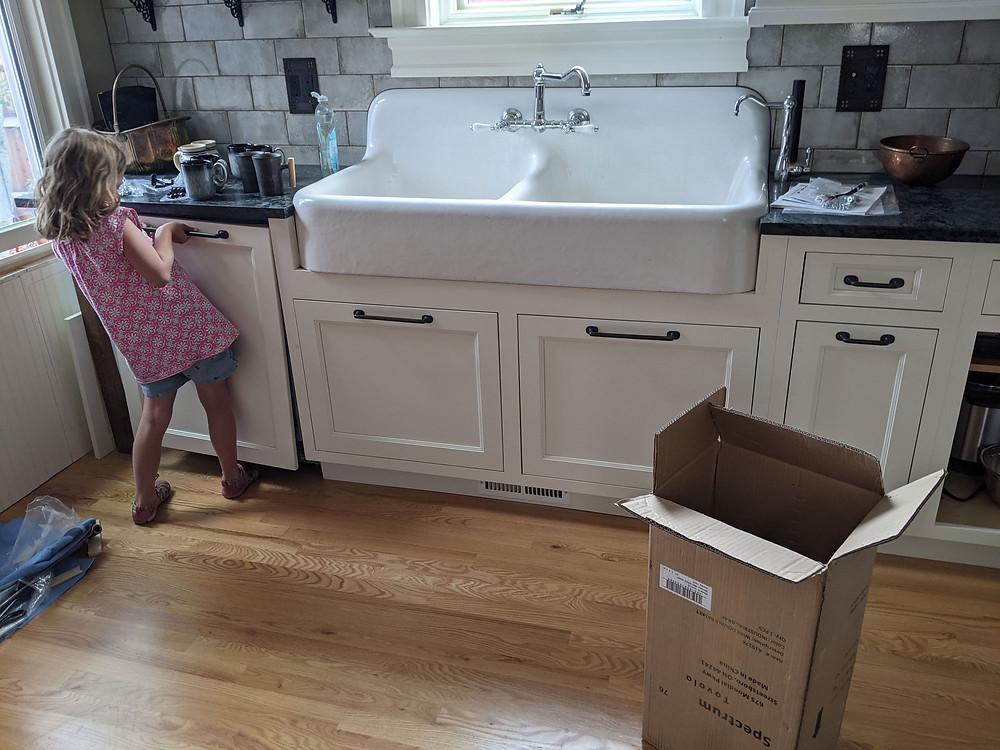 Antique apron front double basin 1929 Kohler kitchen sink