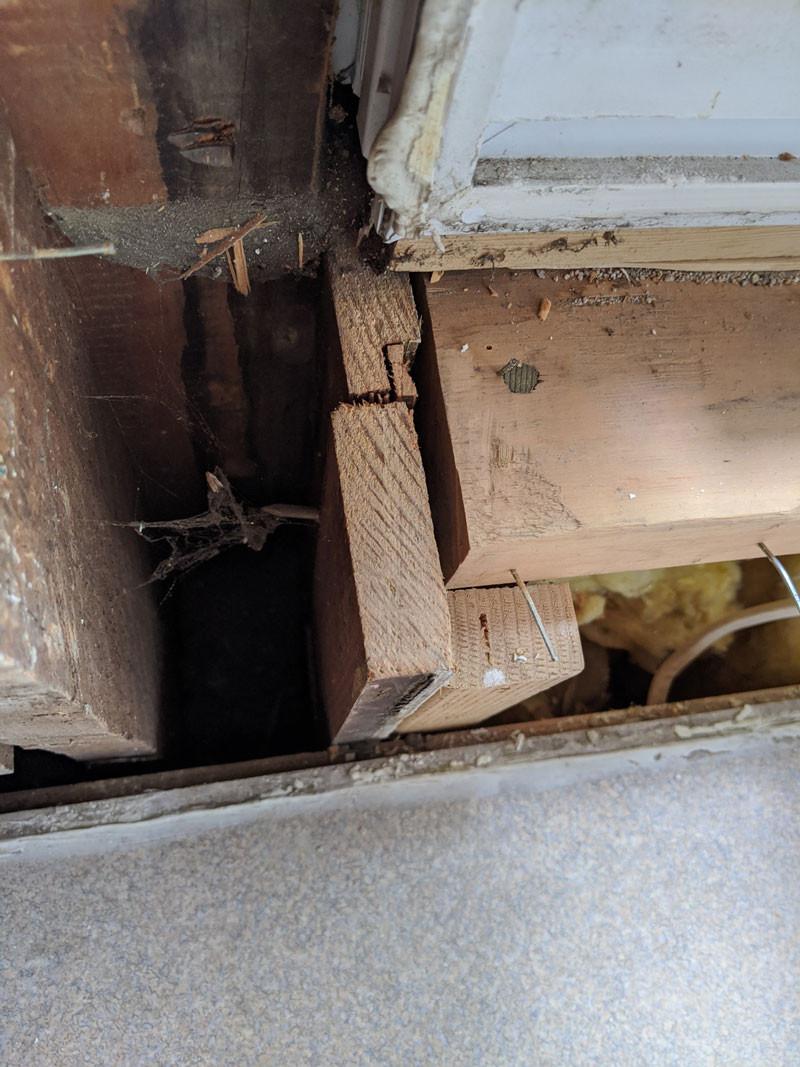 Wooden Window Jamb Cut to Accommodate Vinyl Window