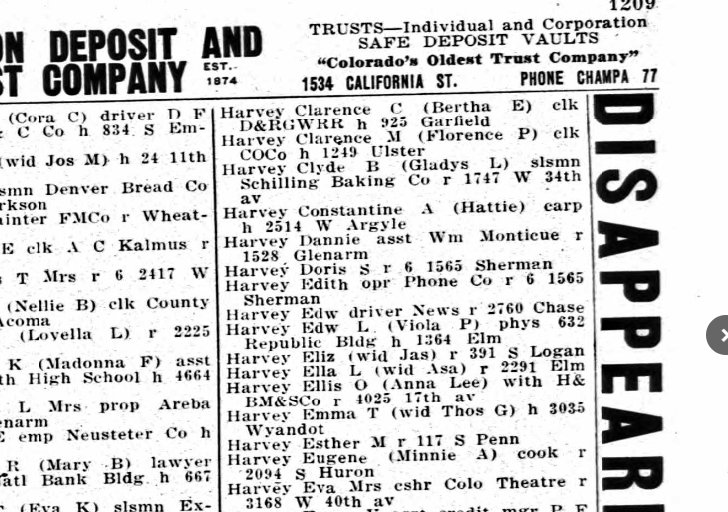 Denver city directory for Dannie Harvey in 1927