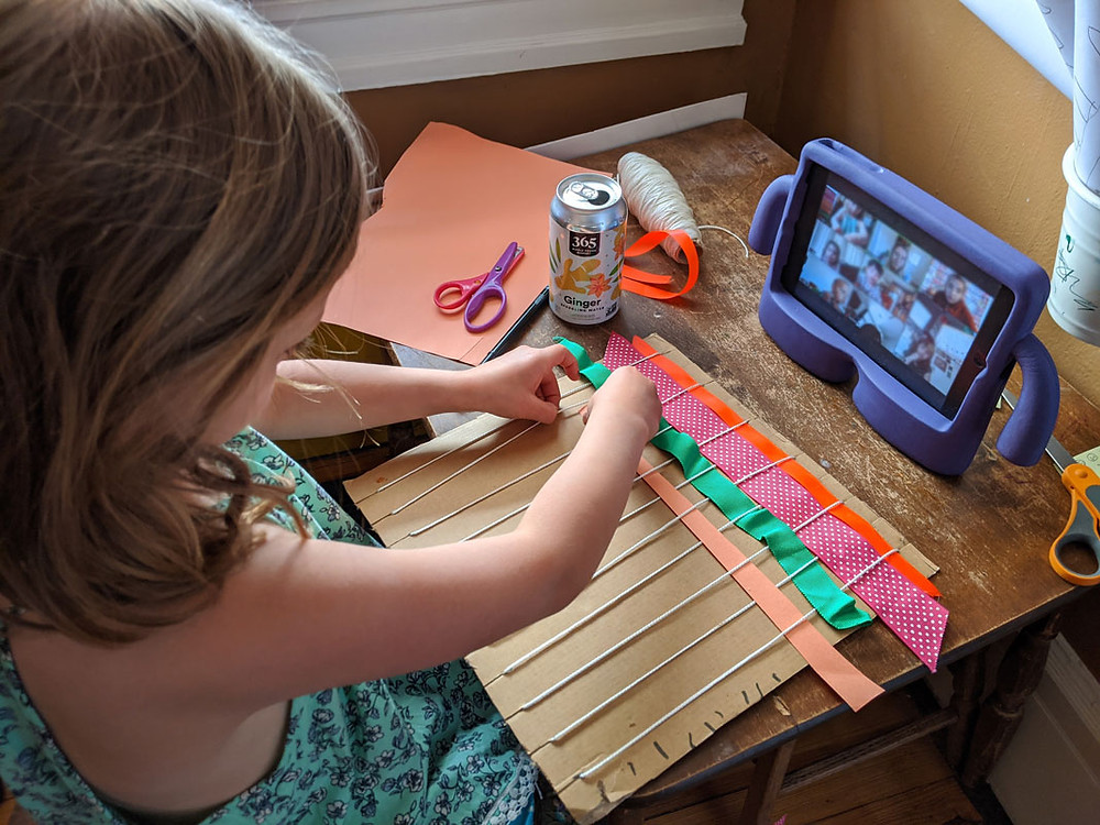 A dedicated art desk adds character to the room and enables multiple simultaneous Zoom calls.