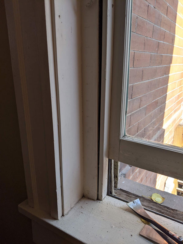 Remove the stop to access the sash on a wood window