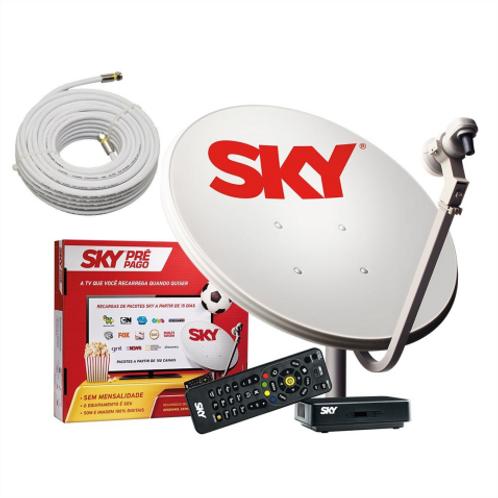 Receptor SKY  Pré Pago  com 01 Antena  de 0,60cm,  17m de Cabo,  01 LNB Simples