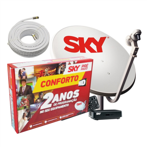 Receptor Sky Pré Pago HD Conforto (kit+)