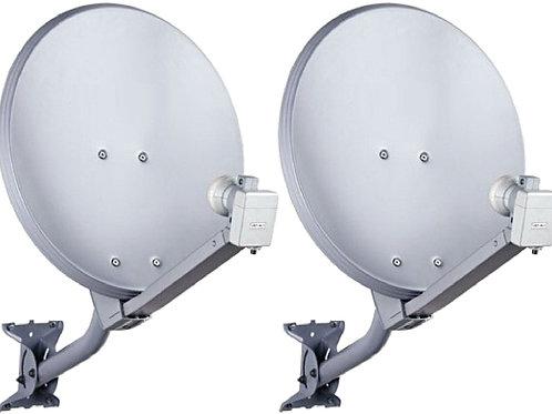 02 Antenas KU  com 0,60cm  + 02 LNB  Duplos