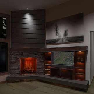 Gray Crossing Entertainment Center and Fireplace Project
